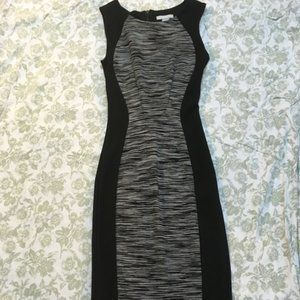 NWOT H&M Body Con Midi Dress Black Gray Size XS